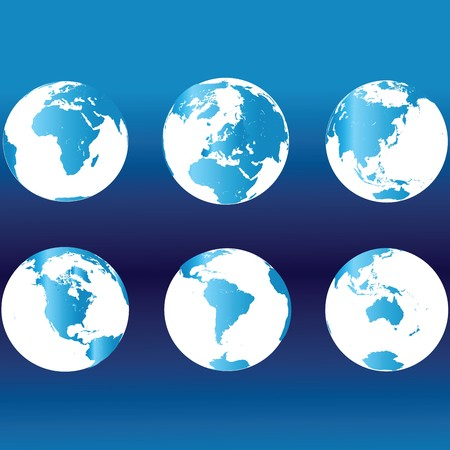Earth globes in blue colors photo