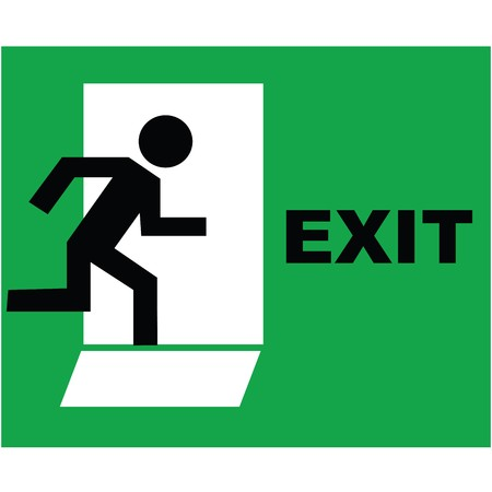 Emergency exit sign icon photo