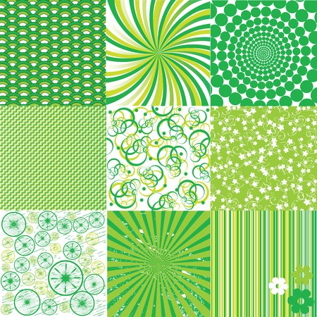 Green and white backgrounds , nine patterns Stock Photo - 7032883