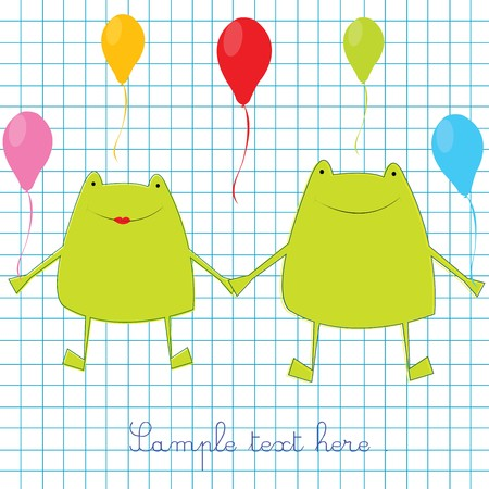 Green frogs on math page background Stock Photo - 7032550