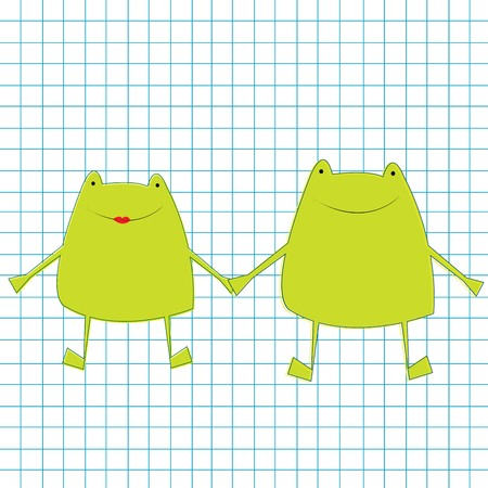 Green frogs on math page photo