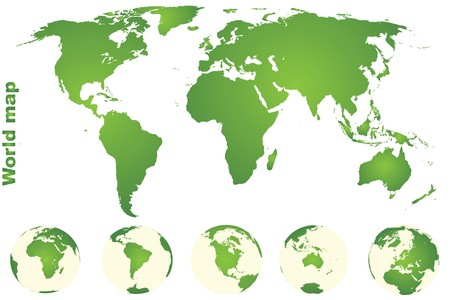 Green world map with Earth globes Stock Photo - 7032294