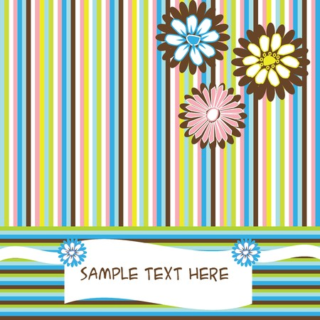 Greeting card with flowers and stripes photo
