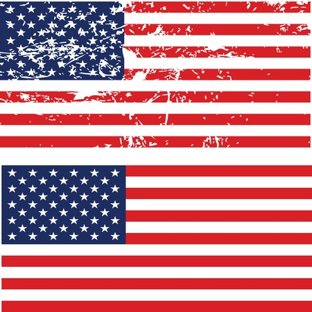 aging american: Grunge American flag Stock Photo
