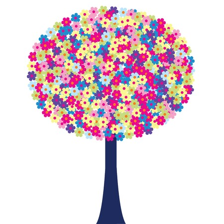 Happy tree with colored flowers Stock Photo - 7032457