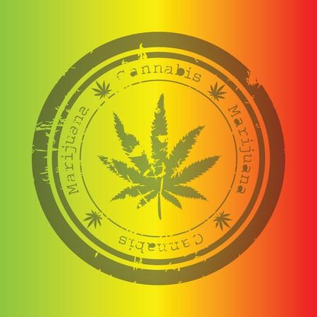 jamaica: Marijuana stamp on rastafarian background Stock Photo