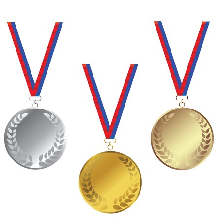 Medals set isoled over white background Stock Photo - 7032103