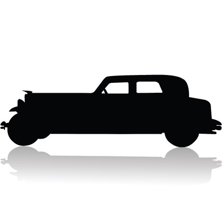 exotic car: Old car silhouette Stock Photo