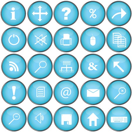 Blue buttons with pc symbols photo