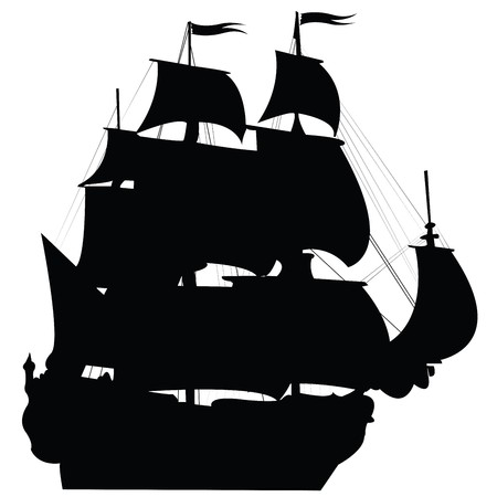 galleon: Perspective view of an old silhouette ship sailing