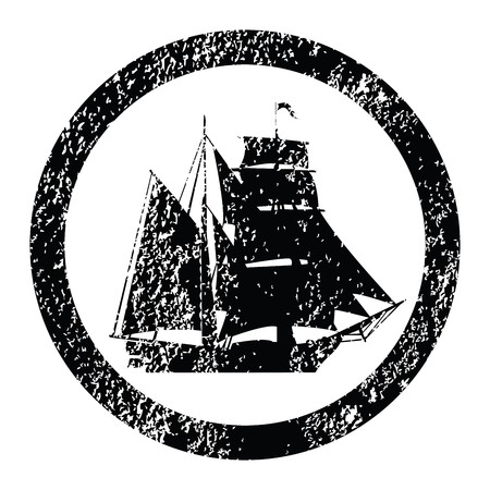 Rubber stamp with brigantine silhouette photo