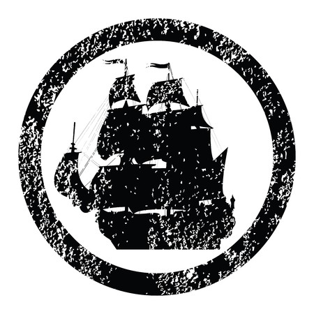 galley: Rubber stamp with brigantine silhouette Stock Photo