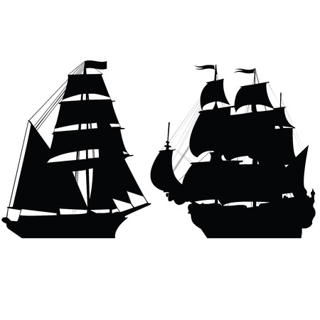 Set of brigantine silhouettes photo