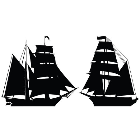 Set of two brigantine silhouettes photo