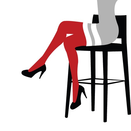 legs crossed: Sexy woman legs staying on a bar chair Stock Photo