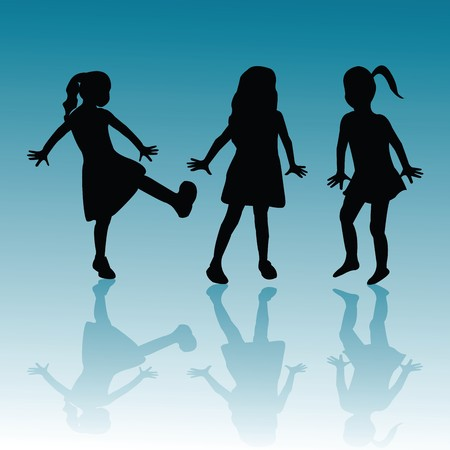 Silhouettes of children on blue background photo