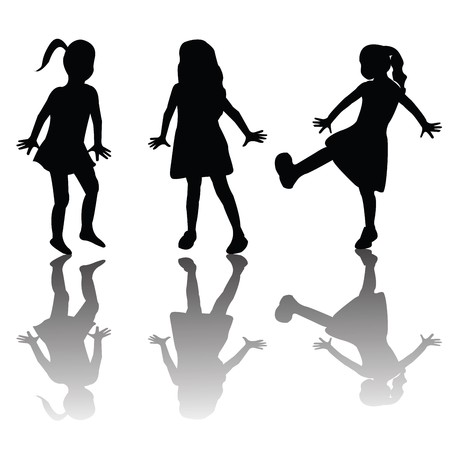 little girl sitting: Silhouettes of happy kids Stock Photo