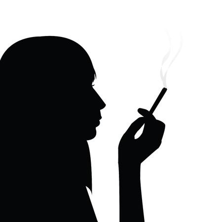 fille fumeuse: Fumer fille noire silhouette