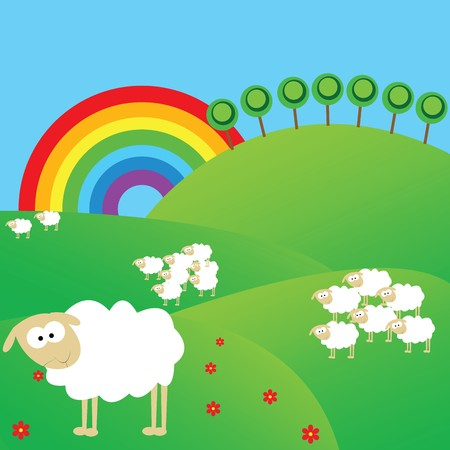 Summer landscape with sheeps and rainbow photo