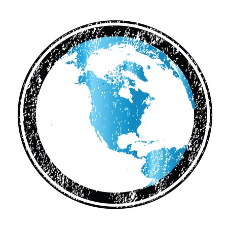 Stamp with Earth globe photo