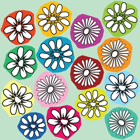 novae: Stylized flowers on different background