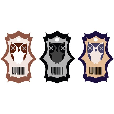 Stylized price tags with owls Stock Photo - 7032078