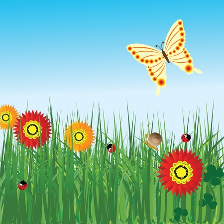 Spring background with flowers and butterfly Stock Photo - 7032605