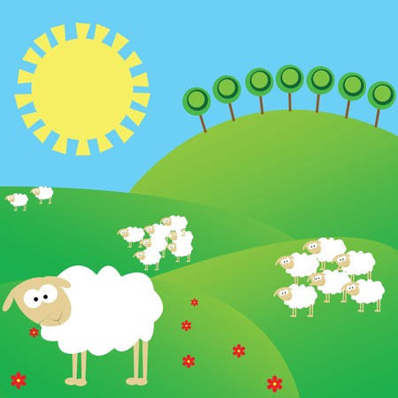 Summer landscape with white sheeps photo