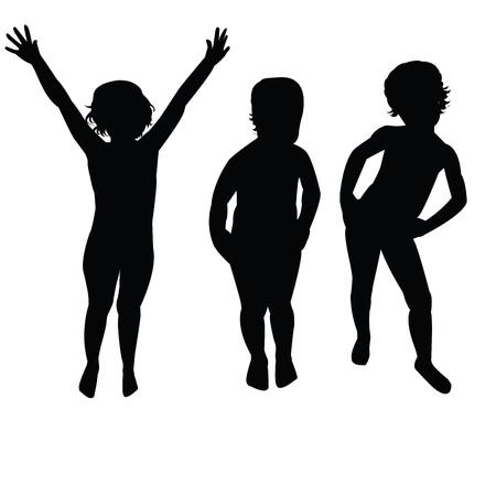Three children silhouettes photo