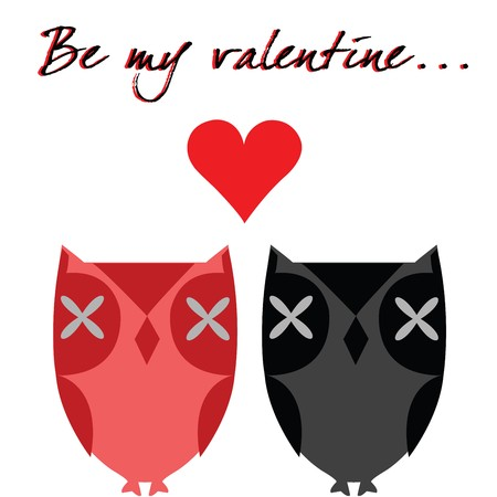 Valentines day card with owls photo