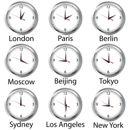timezone: Timezone clock. Clocks showing the time around the world. Stock Photo