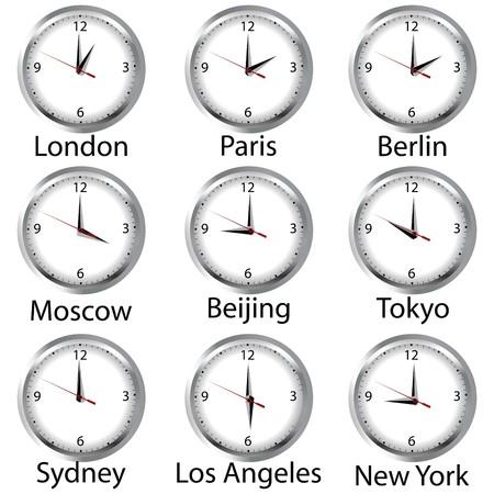 timezone: Timezone clock. Clocks showing the time around the world. Stock Photo