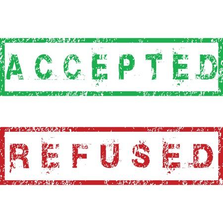 refused: Sellos de aceptados y responder  Foto de archivo
