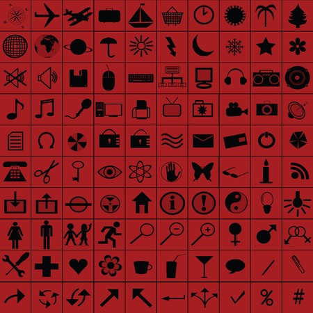 Black web icons over red background photo