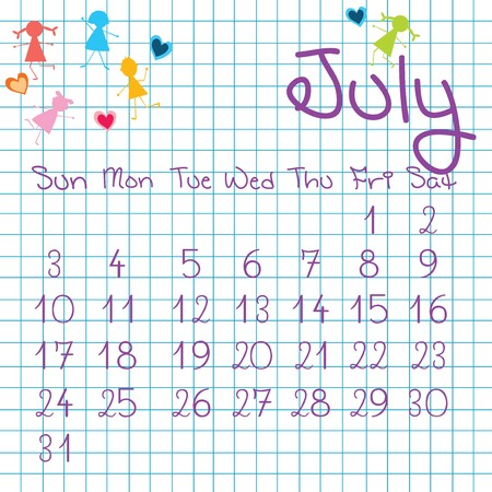 Calendar for July 2011 Stock Photo - 7164200