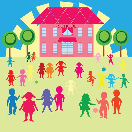 Clip-art with children and school Stock Photo - 7164081