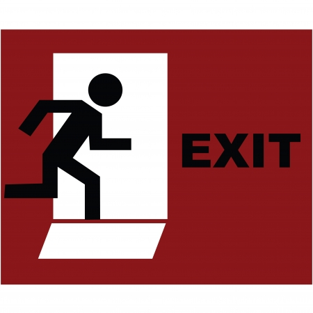 Exit symbol in red photo