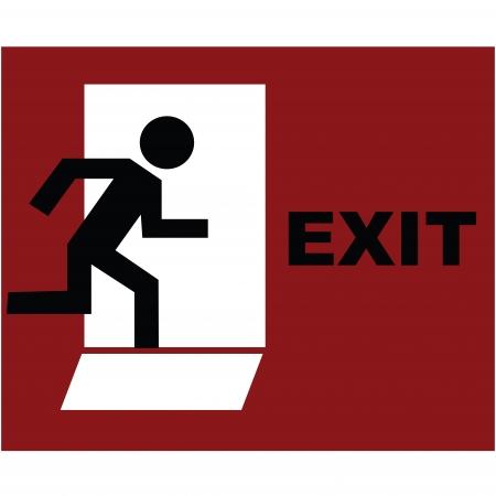 salida de emergencia: S�mbolo de salida en rojo  Foto de archivo