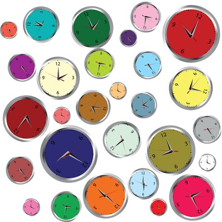 Background with colored clocks photo