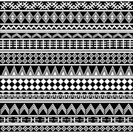ethnic pattern: background with white geometrical shapes, pattern Stock Photo