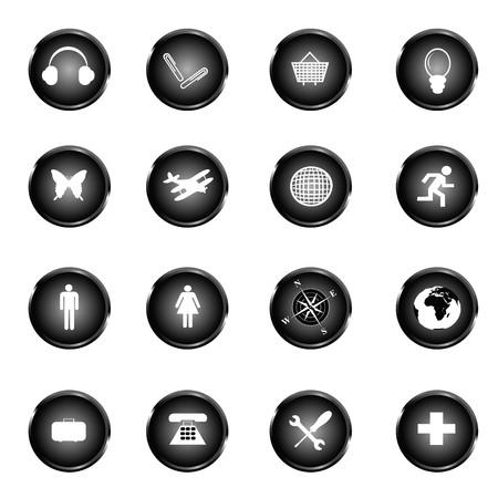 Black web buttons Stock Photo - 7321324