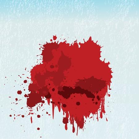 vandal: Blood spots on blue window