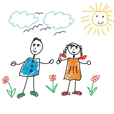 karikatuur: Cartoon doodle met kinderen