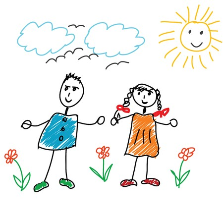 caricature: cartoon doodle with children