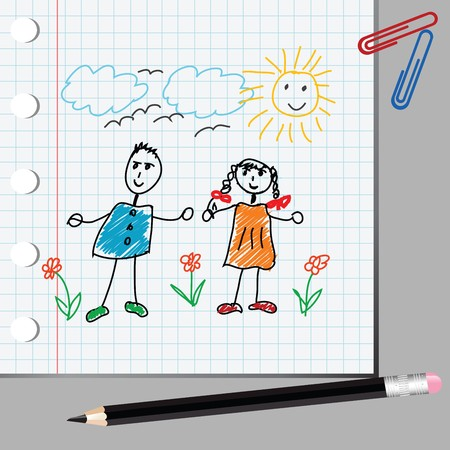 Doodle kids on math page photo