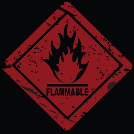 Flammable Fire Hazard warning symbol photo