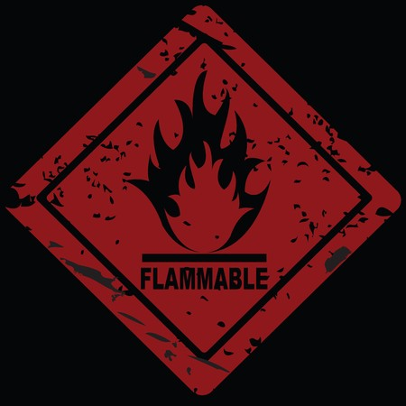 flammable warning: Flammable Fire Hazard warning symbol Stock Photo