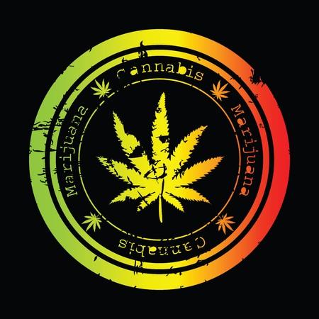 drug dealer: Grunge stamp with marijuana leaf Stock Photo