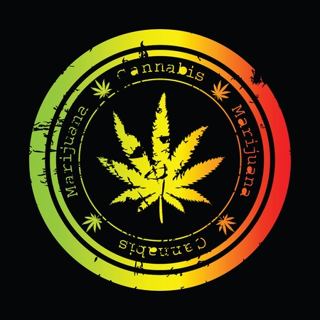 marijuana leaf: Grunge stamp with marijuana leaf Stock Photo