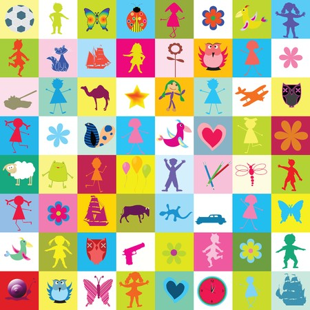 Pattern with toys and kids for kindergarten photo